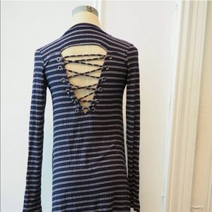 AEO NEW striped dress with lace up back cut out s